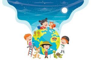 crianças pequenas e ecologia vetor