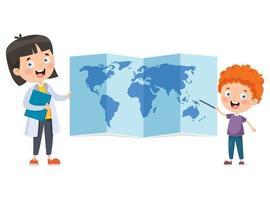 crianças em idade escolar estudando geografia vetor