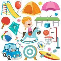 coleção de brinquedos e objetos coloridos vetor