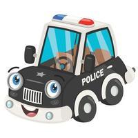 desenho animado posar de carro de polícia vetor