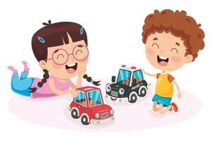 crianças brincando com brinquedos de carros de corrida vetor