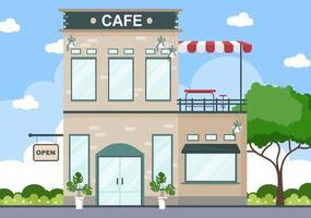ilustração de café com placa aberta, árvore e exterior de loja de construção. conceito de design plano vetor
