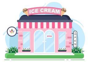 ilustração de sorveteria com placa aberta, árvore e exterior de loja de construção. conceito de design plano vetor