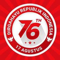 76º dirgahayu indonésia distintivo vermelho do dia da independência vetor
