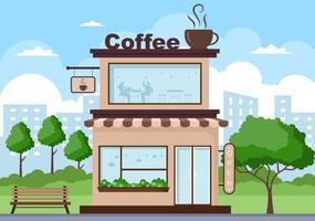 ilustração da cafeteria com placa aberta, árvore e exterior da loja do edifício. conceito de design plano vetor