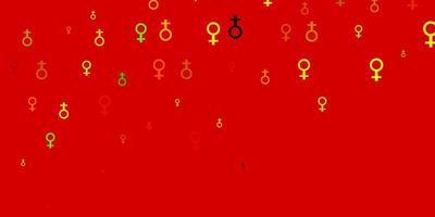 padrão de vetor verde e amarelo claro com elementos do feminismo.