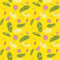 lindo verão sem costura de fundo com silhueta de folha de palmeira, melancia, banana e sorvete. ilustração vetorial vetor