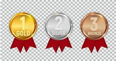 conjunto de medalhas de ouro, prata e bronze do campeão vetor