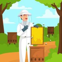 homem criando abelha de mel vetor