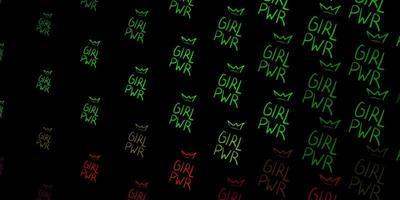 padrão de vetor verde escuro e vermelho com elementos do feminismo.