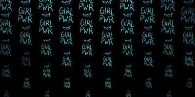 textura vector verde escuro com símbolos dos direitos das mulheres.