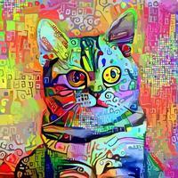 pintura artística abstrata de gato de estimação vetor