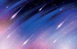 chuva de meteoros no céu escuro vetor