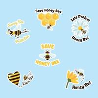 adesivo de campanha de abelha mel vetor
