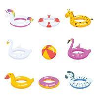 conjunto de ícones de flutuadores e acessórios de natação vetor