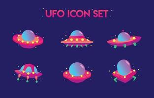 conjunto de nave espacial ufo vetor