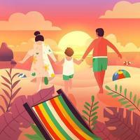 férias em família na praia no verão vetor