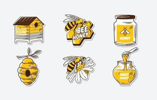 adesivo de doce mel de abelha vetor