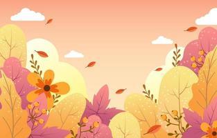 folhagem de outono e conceito de flores vetor