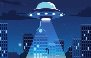 rapto de ufo na cidade vetor