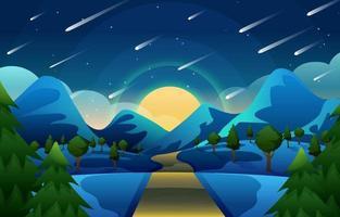 vista de meteoro caindo em uma colina de montanha vetor