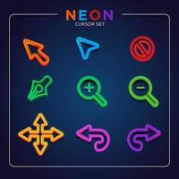 conjunto de cursor de néon brilhante vetor