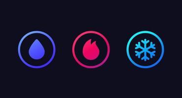 ícones de água, fogo e gelo em círculos vetor