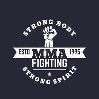 logotipo de luta da mma, emblema vetorial, impressão de camiseta vetor
