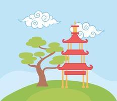 pagode construção bonsai árvore nuvens encaracoladas elemento oriental decoração cor design vetor