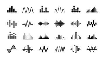 conjunto de ícones de ondas de rádio. onda de som simples monocromática em fundo branco. ilustração isolada do vetor. vetor