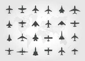 conjunto de avião a jato, ícones de vista superior. aviões de silhueta negra, jatos, aviões comerciais e aviões retrô. ilustração isolada do vetor. vetor
