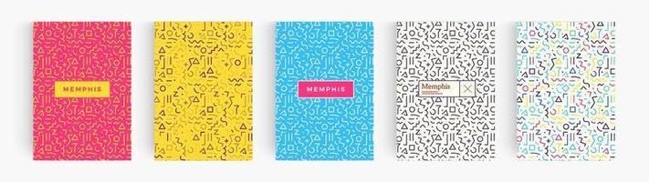 conjunto de cartazes coloridos de estilo minimalista abstrato, coleção de fundos geométricos de memphis. capa para livro, folheto, relatório anual, resumo criativo. modelo de padrão de vetor. vetor