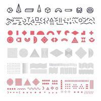 conjunto de elementos geométricos de memphis, grupo de formas geométricas, linhas e padrões lineares para fundo moderno de banner e cartaz, folheto e impressão de roupas. ilustração vetorial. vetor