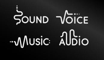 logotipo moderno conjunto de app de música. emblemas criativos de vetor em fundo preto.