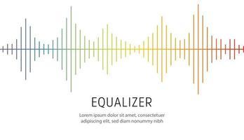 linhas coloridas sobre fundo branco. onda de rádio ou equalizador de música, onda sonora. eletrocardiograma estilizado, design de interface para equipamentos médicos, ilustração vetorial. vetor