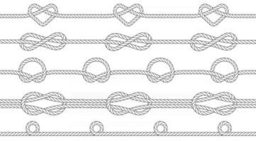 textura perfeita de cordas com nós. nós de um círculo, infinito e forma de coração. padrão repetível. ilustração vetorial. vetor