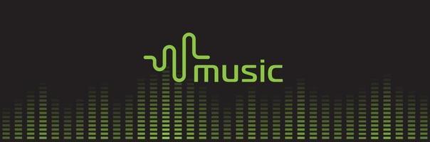 logotipo do gravador de som de música. logotipo do equalizador de áudio. forma de onda sintoniza o ícone de reprodução. ilustração em vetor lista de reprodução de registro digital verde isolado.