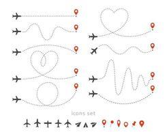 definir ícones de viagens de avião. decolagem e pouso de um avião de passageiros. elementos de infográfico de rota de voo. voo de avião, coleção de ilustrações isoladas de vetor de turismo de aviação.