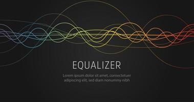 equalizador onda sonora coloridas linhas onduladas em fundo preto. ilustração vetorial. vetor