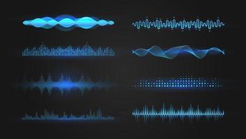 ondas do equalizador azul sobre fundo preto. conjunto realista de ondas sonoras e de rádio. design gráfico de voz digital, ilustração vetorial. vetor