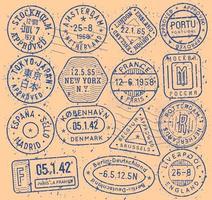 conjunto de ícones de selos de tinta. coleção de sinais de visto aprovado. elementos de passaporte internacional. emblemas de turismo retrô. símbolos vintage dos correios. carta postal antiga com carimbos. vetor