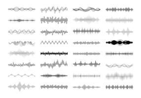 conjunto de linhas ondulantes, vibratórias e pulsantes. elementos de design gráfico para monitoramento financeiro, equipamento médico, aplicativo de música. ilustração isolada do vetor. vetor