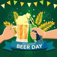 brinde de cerveja no dia internacional da cerveja vetor