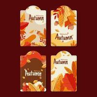 bem-vindo outono conjunto de etiquetas vetor