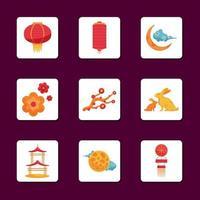 pacote de ícones do festival do meio do outono vetor