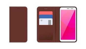 dispositivo móvel smartphone com capa de couro costurada marrom aberta e fechada, cartões bancários de plástico nos bolsos. vetor moderno ilustração plana conjunto de isolamento
