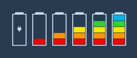 ícones do indicador de carga da bateria ícone do vetor nível de carga energia da bateria poderosamente cheio, divertido, engraçado, energia funcionando com baixo status cheio baterias definir logotipo nível de carga vazio barra de carregamento gadgets alcalinos