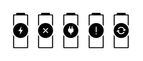 conjunto de ícones de status do indicador de carga da bateria. gadgets acumulador defeituoso quebrado precisa carregar erro substituir pictogramas. ilustração do poder do vetor
