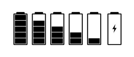 conjunto de ícones do indicador de carga da bateria. nível de carga potência total de alto a baixo e plugue elétrico. gadgets ilustração vetorial de status de energia alcalina eps 10 vetor