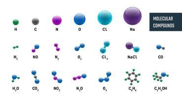 coleção de combinações de modelos químicos moleculares de hidrogênio, oxigênio, sódio, carbono, nitrogênio e cloro. ilustração vetorial conjunto de moléculas isoladas no fundo branco vetor